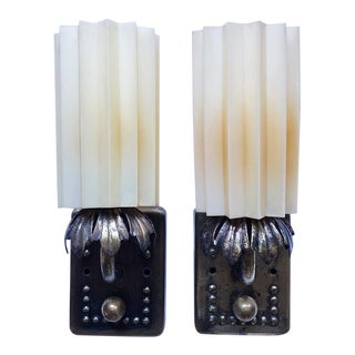 1920s Vintage Art Deco Hard Wired Metal Wall Sconces With Acrylic Fan Shades a Pair For Sale
