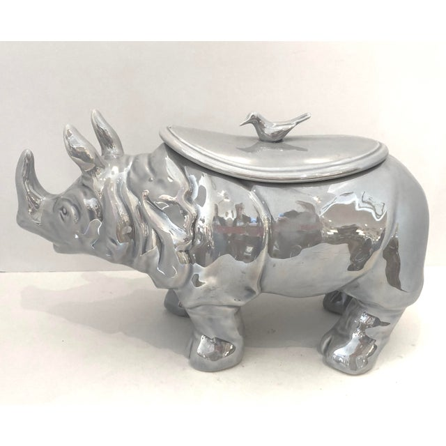 Rare and Rhinoceros soup tureen in a fabulous gray color ceramic lusterware, for the very famous French Shop Christian...