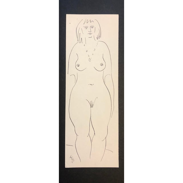 1950s Mid-Century Modern Female Figure Study Drawing by James Bone For Sale - Image 4 of 4
