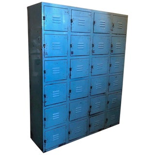Industrial Steel Locker Set in Robin's Egg Blue, 24 Cubbies and Padlock Pulls For Sale