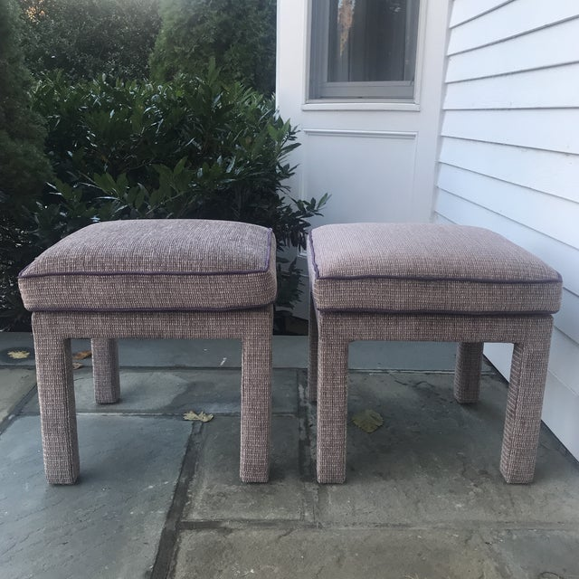 Mid-Century Modern Pair of 1970s Upholstered Parsons Stools For Sale - Image 3 of 8