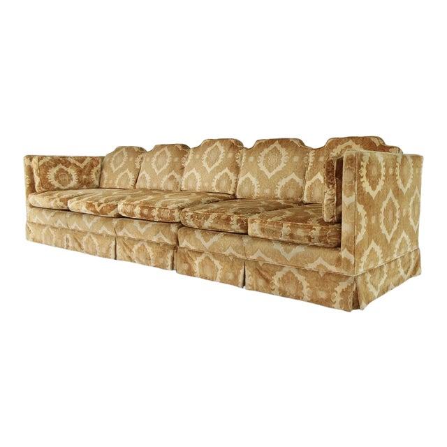 1970s Vintage Damask Two-Piece Velvet Sofa For Sale
