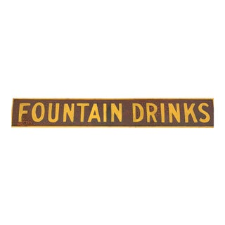 Vintage Fountain Drinks Sign For Sale