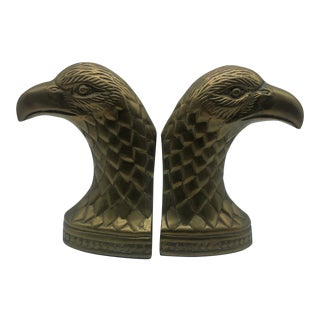 Hollywood Regency Brass Eagle Bookends - A Pair For Sale