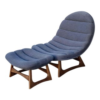 Grey Ribbed Scoop Lounge Chair & Ottoman