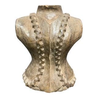 1920s Antique Paper Mache Carved Wood Dress Form For Sale