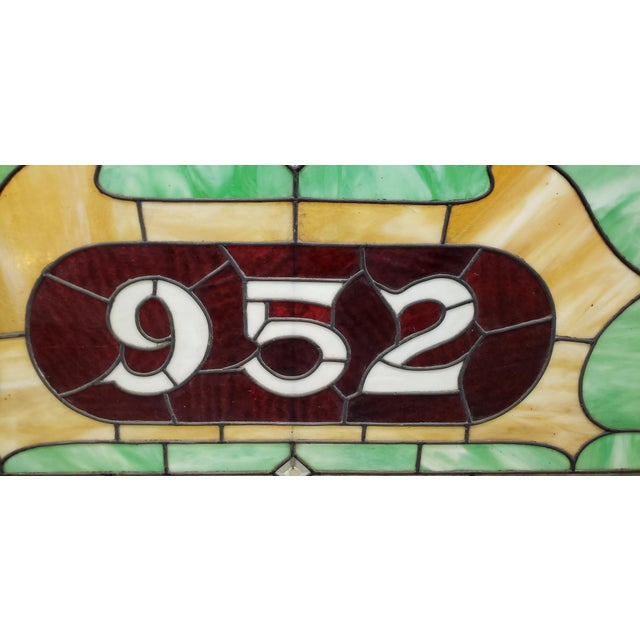 19th Century Stained Glass Victorian House Number Window Panel C.1880 For Sale In San Francisco - Image 6 of 12