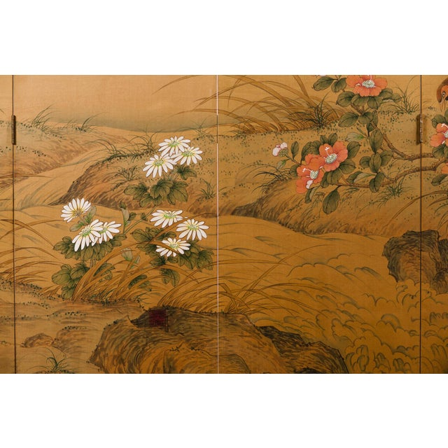 Sung Tze-Chin Large Chinoiserie Hanging Screen Ink on Silk Birds and Flowers Scene 9 Feet Wide by 7 Feet Height For Sale - Image 10 of 13