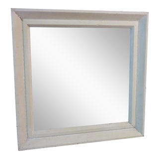 Small Square Whitewashed Mirror For Sale