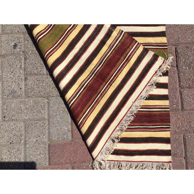 Black Vintage Striped Turkish Kilim Runner Rug For Sale - Image 8 of 9