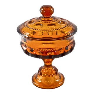 Amber Lidded Pedestal Bowl For Sale