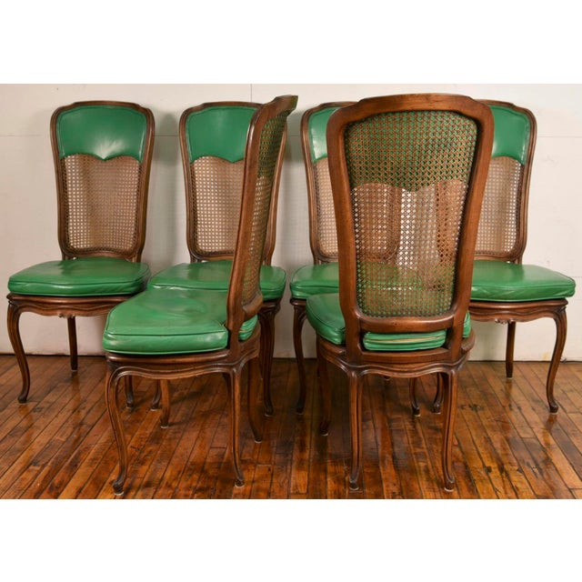 6 French Provincial Caned Dining Chairs-Green Leather Cushions - Image 6 of 8