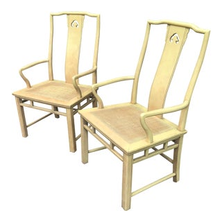 Vintage White Furniture Chinoiserie Arm Chairs a Pair For Sale