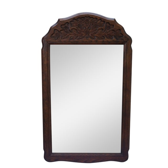 Solid Oak Frame French Country Style Wall Mirror For Sale