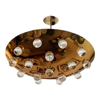 1960s Mid-Century Modern French Brass Crystal Orb Pendant Lighting