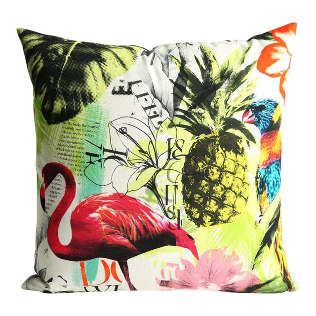 Pineapple Flamingo Art Tropical Decorative Euro Sham Pillow - Image 1 of 6