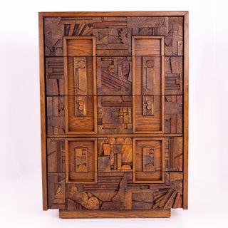 Mid Century Paul Evans Style Lane Pueblo Brutalist Walnut 5 Drawer Highboy Dresser Preview