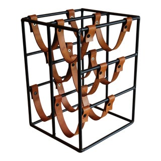 Circa 1960 Arthur Umanoff Leather and Polychromed Steel Wine Rack for Raymor For Sale