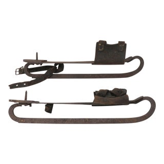 Antique Hand Wrought Iron Ice Skates - a Pair For Sale