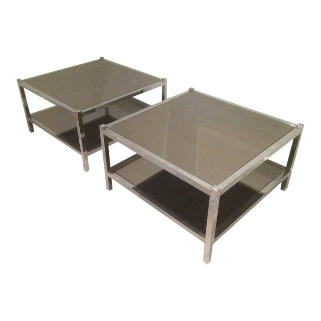 Pair of Large Chrome Side Tables with Bronzed Mirrors - Image 1 of 11
