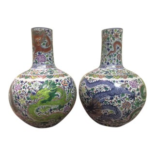 19th Century Antique Chinese Porcelain Qianlong Marked Doucai Tianqiu Vases - a Pair For Sale