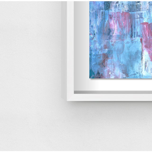 """Not Yet Made - Made To Order Oliver Gal Medium 'Blue Lavender Waterfall' Framed Art 26"""" x 20"""" For Sale - Image 5 of 7"""