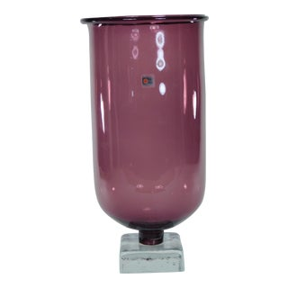 Blenko Purple Block Footed Base Tall Glass Vase