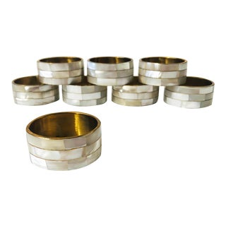 Vintage Mother of Pearl Napkin Rings - Set of 8 For Sale