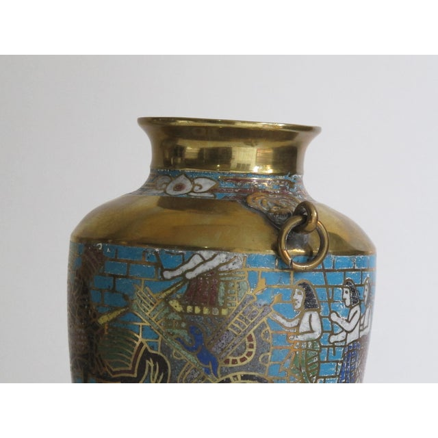 Blue Egyptian Revival Urns - A Pair For Sale - Image 8 of 9