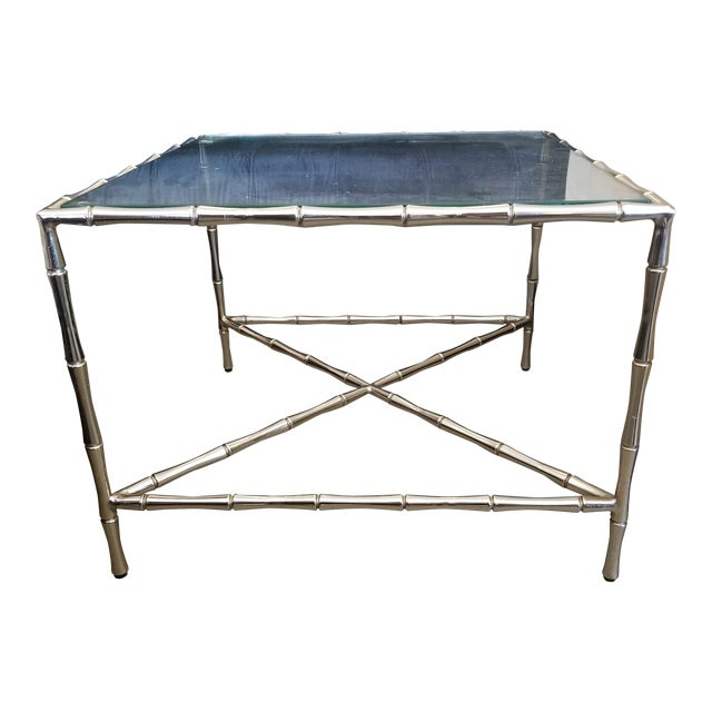Contemporary William Sonoma Bamboo Motif Chrome & Glass Side Table For Sale