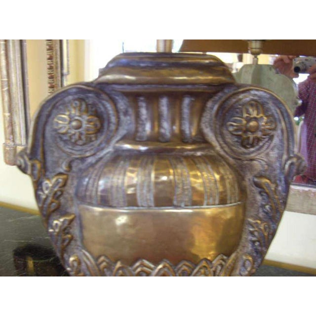 French 19th C. Repousse' Brass Urn Lamps - a Pair For Sale - Image 3 of 8