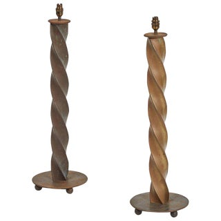 Twisted Iron Table Lamps - a Pair For Sale