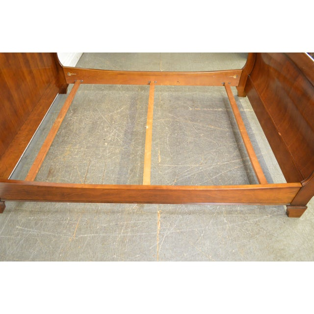 Custom Quality Queen Size Fruitwood Sleigh Bed | Chairish