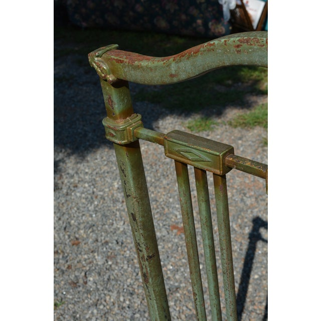 1800's Antique European Cast Iron Steel Green Shabby Chic Scenic 3/4 Bed Frame For Sale - Image 6 of 13