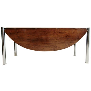 Mid-Century Chrome & Walnut Milo Baughman Drop Leaf Floating Table For Sale