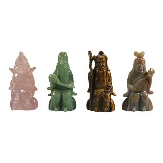 Vintage Chinese Carved Gemstone Figures of Ancient Immortals - Set of 4 For Sale