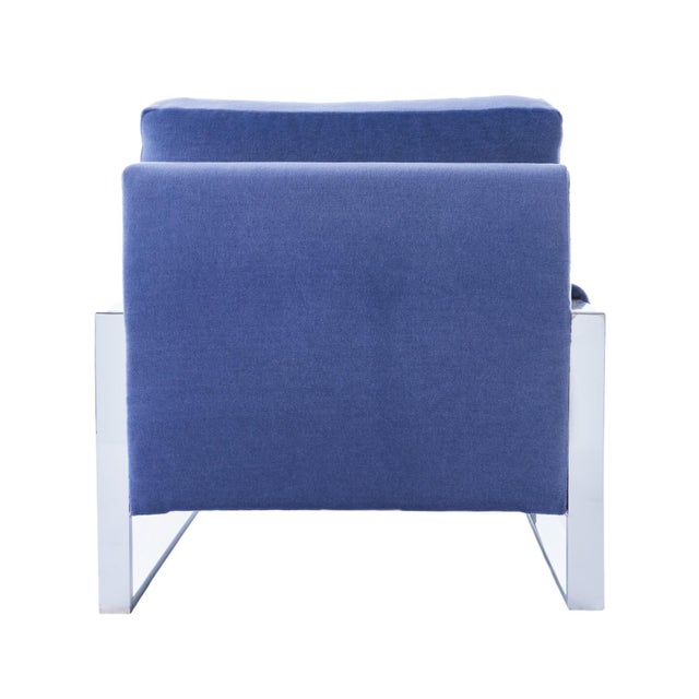Mid 20th Century Adrian Pearsall for Craft Associates Mohair, Wood & Chrome Lounge Chair - a Pair For Sale - Image 5 of 9