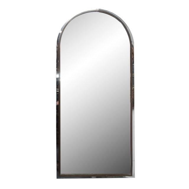 Polished Steel and Brass Arched Shaped Mirror For Sale - Image 4 of 4