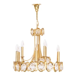 Huge Gilded Brass and Glass Palwa Chandelier For Sale