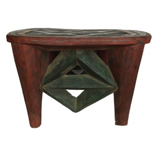 "African Lg Nupe Stool Nigeria 15.75"" H by 22.25"" W Preview"