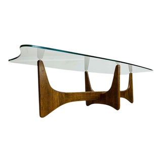 "Danish Modern Adrian Pearsall 2399tc ""stingray"" Glass Coffee Table For Sale"