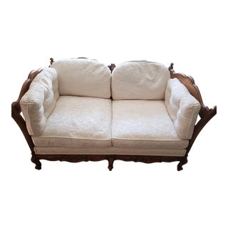 1990s Vintage French Country Wood Carved Loveseat For Sale