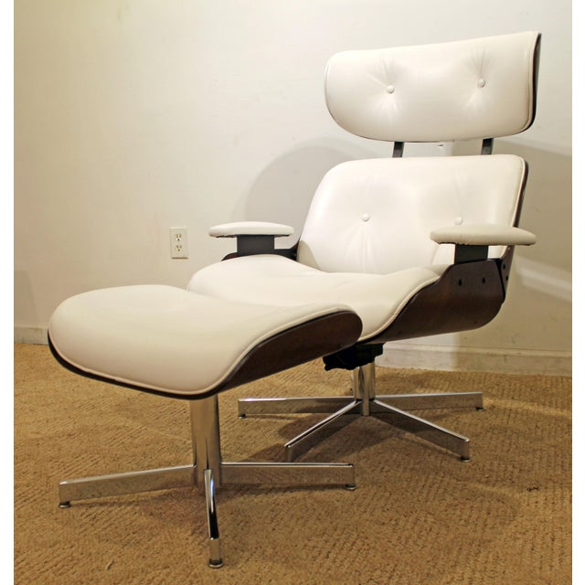 What a find. Offered is a Mid-Century Danish Modern Selig Eames Leather Swivel Lounge Chair/Ottoman. This chair is an...