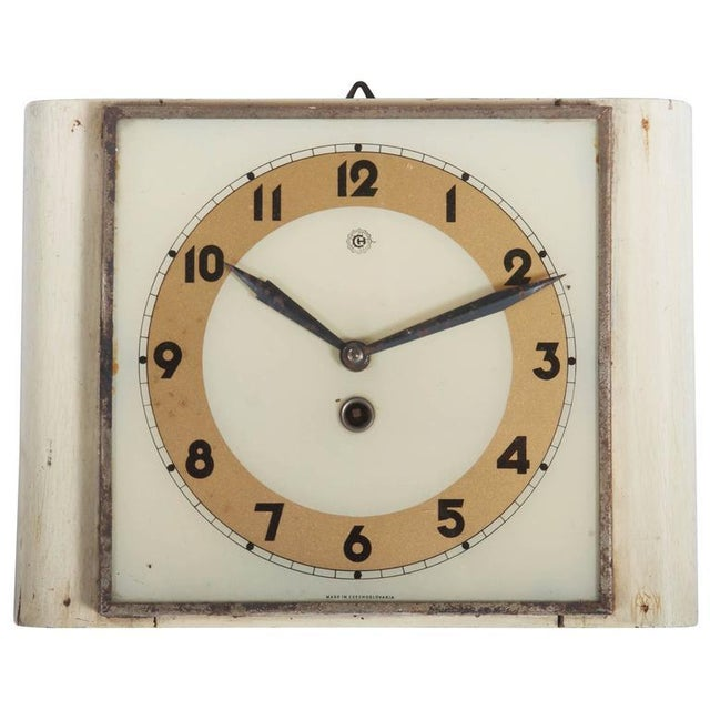 Czech Art Deco Wall Clock from Chomutov, 1930s For Sale - Image 6 of 6