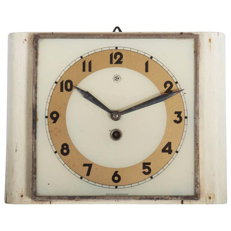 Czech Art Deco Wall Clock From Chomutov, 1930s   Image 6 Of 6
