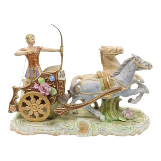 1940s Lg Capo DI Monte Porcelain Statue of the Goddess Diana in Her Horse Drawn Chariot For Sale