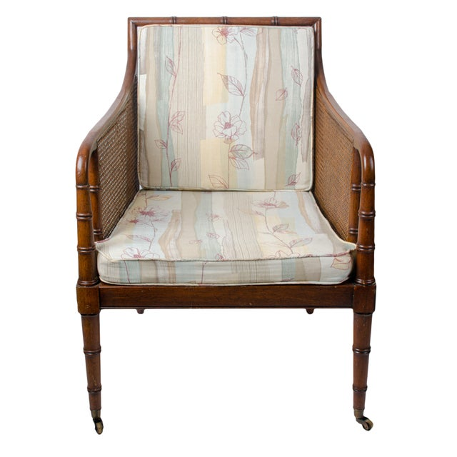 Hollywood Regency 1960s Regency Hickory Chair Co. Bamboo & Cane Chair For Sale - Image 3 of 8