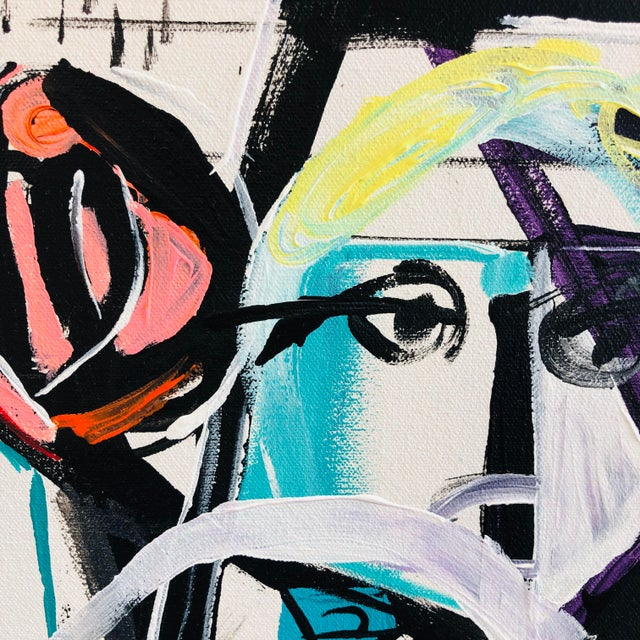 Contemporary Jj Justice Contemporary Abstract Portrait Painting For Sale - Image 3 of 10