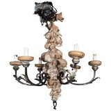 Image of Italian Wrought Iron and Carved Wood Fruit Chandelier For Sale