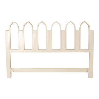 1965 Harvey Probber Full or Queen-Size White Gothic Arch Headboard For Sale